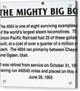 Trains Mighty Big Boy Signage Acrylic Print