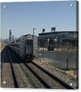 Trains Passing The Home Of The Chicago White Sox Acrylic Print