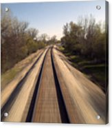 Trains Power Approaching The Crossing Acrylic Print