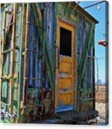 Trains Wooden Box Car Yellow Door Acrylic Print