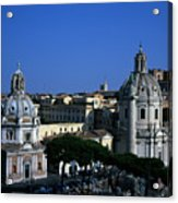 Trajan's Column Church Of Santa Maria Di Loreto Church Of Our Lady Giclee Rome Italy Acrylic Print