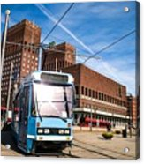 Tram In Front Of Oslo City Hall Acrylic Print