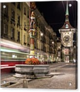Tram Rushes In The Street Of Bern Acrylic Print