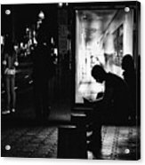 Tram Station Silhouettes Acrylic Print