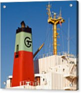 Tramp Steamer Unloading Coal At Port Canaveral In Florida Acrylic Print