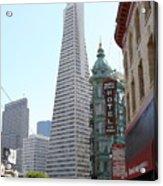 Transamerica Pyramid Through North Beach San Francisco . 7434 Acrylic Print by Wingsdomain Art and Photography