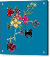 Transparent Flowers And Butterflies In Color Acrylic Print