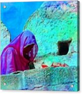 Travel Exotic Woman On Ramparts Mehrangarh Fort India Rajasthan 1e Acrylic Print