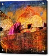 Travel Exotic Woman On Ramparts Mehrangarh Fort India Rajasthan 1h Acrylic Print