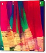 Travel Shopping Colorful Scarves Abstract Series Square India Rajasthan 1h Acrylic Print