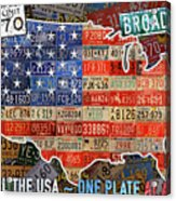 Travel The Usa One Plate At A Time License Plate Art By Design Turnpike Acrylic Print