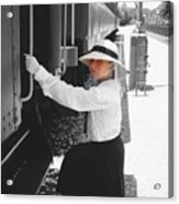 Traveling By Train - Black And White Focal Acrylic Print
