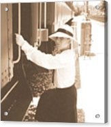 Traveling By Train - Sepia Acrylic Print