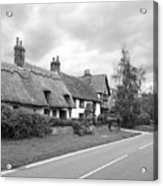 Travellers Delight - English Country Road Black And White Acrylic Print