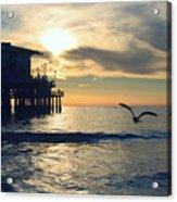 Seagull Pier Sunrise Seascape C1 Acrylic Print