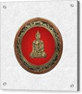 Treasure Trove - Gold Buddha On White Leather Acrylic Print