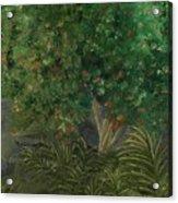 Tree Against The Rocks Acrylic Print