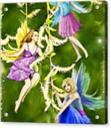 Tree Fairies On The Weeping Willow Acrylic Print