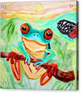 Tree Frog And Butterfly Acrylic Print by Nick Gustafson