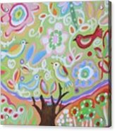 Tree Of Life With Dragonfly Acrylic Print