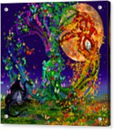 Tree Of Life With Owl And Dragon Acrylic Print