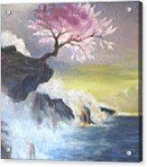 Tree On Cliff Acrylic Print