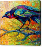 Tree Talk - Crow Acrylic Print by Marion Rose