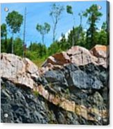 Trees Above The Pink And Grey Rock  Acrylic Print