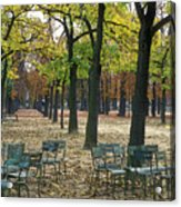 Trees And Empty Chairs In Autumn Acrylic Print