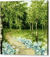 Trees And Flowers Country Scene Acrylic Print