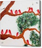Trees And Red Birds 1 Acrylic Print