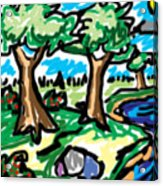 Trees W Water Ddl Acrylic Print