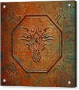 Tribal Dragon Head In Octagon With Dragon Chinese Characters Distressed Finish Acrylic Print