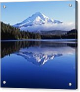 Trillium Lake With Reflection Of Mount Acrylic Print