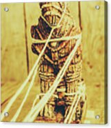 Trojan Horse Wooden Toy Being Pulled By Ropes Acrylic Print