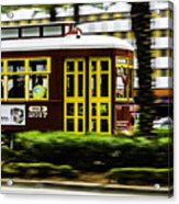 Trolley Car In Motion, New Orleans, Louisiana Acrylic Print