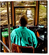Trolley Driver In New Orleans Acrylic Print
