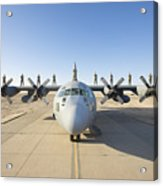 Troops Stand On The Wings Of A C-130 Acrylic Print