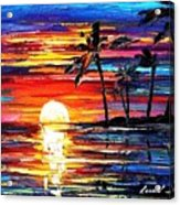 Tropical Fiesta - Palette Knife Oil Painting On Canvas By Leonid Afremov Acrylic Print