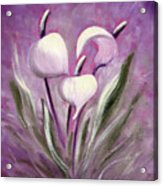Tropical Flowers In Purple Acrylic Print