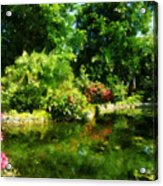 Tropical Garden By Lake Acrylic Print