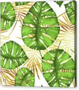 Tropical Haze Green Monstera Leaves And Golden Palm Fronds Acrylic Print