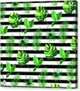 Tropical Leaves Pattern In Watercolor Style With Stripes Acrylic Print