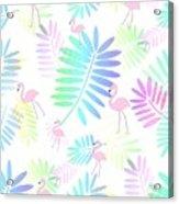 Tropical Pink Flamingos Acrylic Print