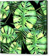 Tropics Noir, Tropical Monstera And Palm Leaves At Night Acrylic Print