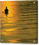 Trout Fishing At Sunset Acrylic Print