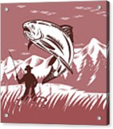 Trout Jumping Fisherman Acrylic Print