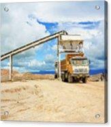 Truck Loading Gravel In Tabnzania. Acrylic Print