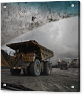 Trucks Hauling Waste Rock At Batu Acrylic Print by Randy Olson