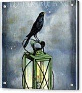 True North Crow Sits On The Night Lantern Acrylic Print